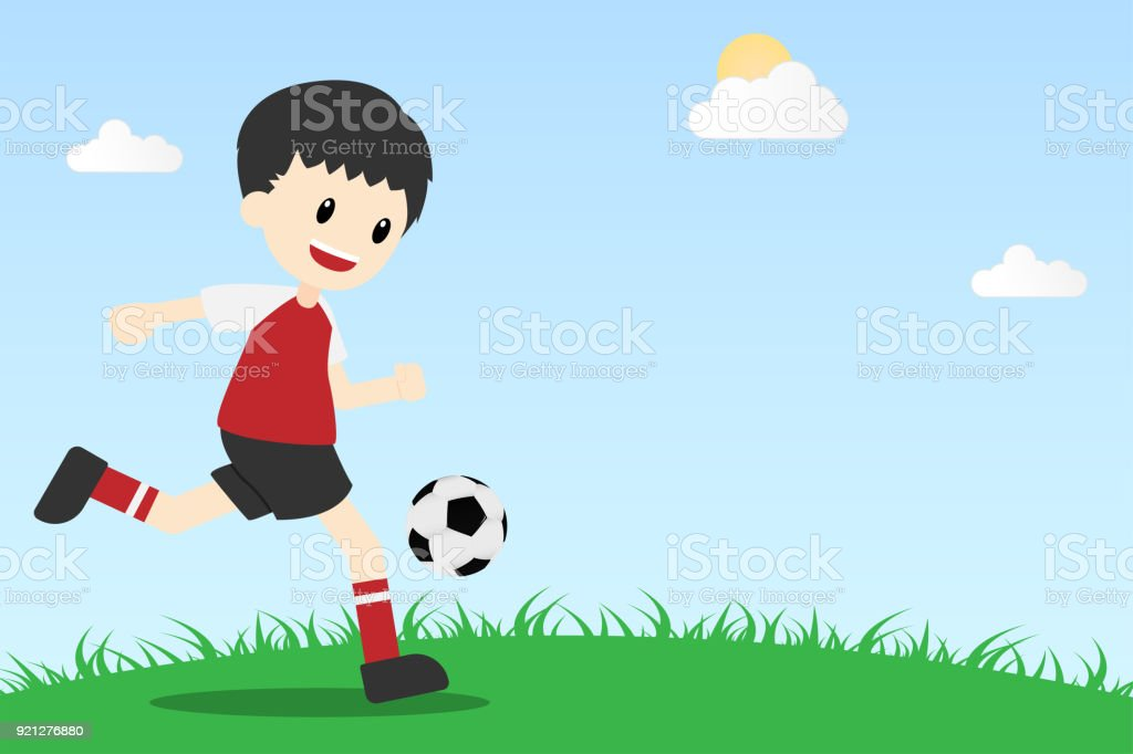 Cartoon Cute Character Soccer Football Player On Field Background