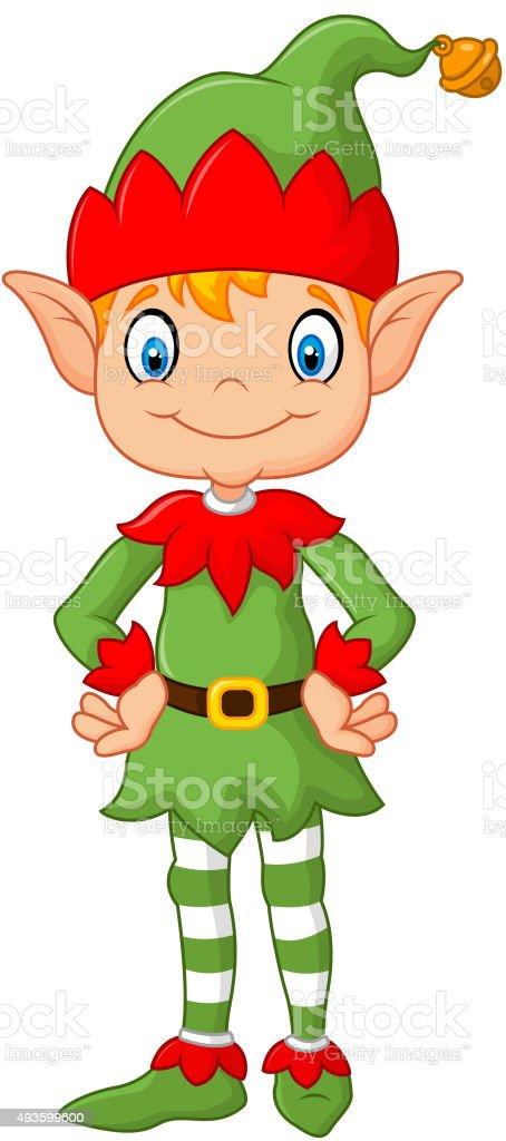 Cartoon cute christmas elf posing stock vector art more