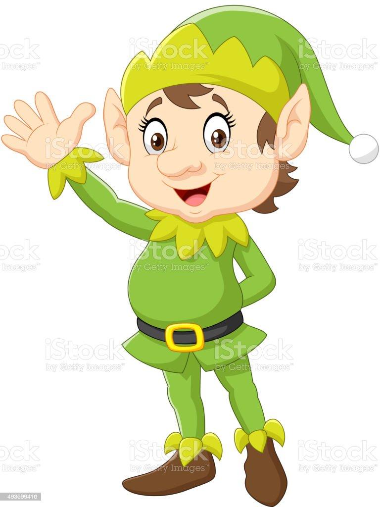 cartoon cute christmas elf waving hand stock vector art Santa Clip Art Elf Hat Clip Art Transparent