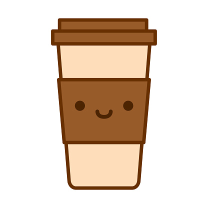 Cartoon Cute Coffee Cup Icon Isolated On White Background
