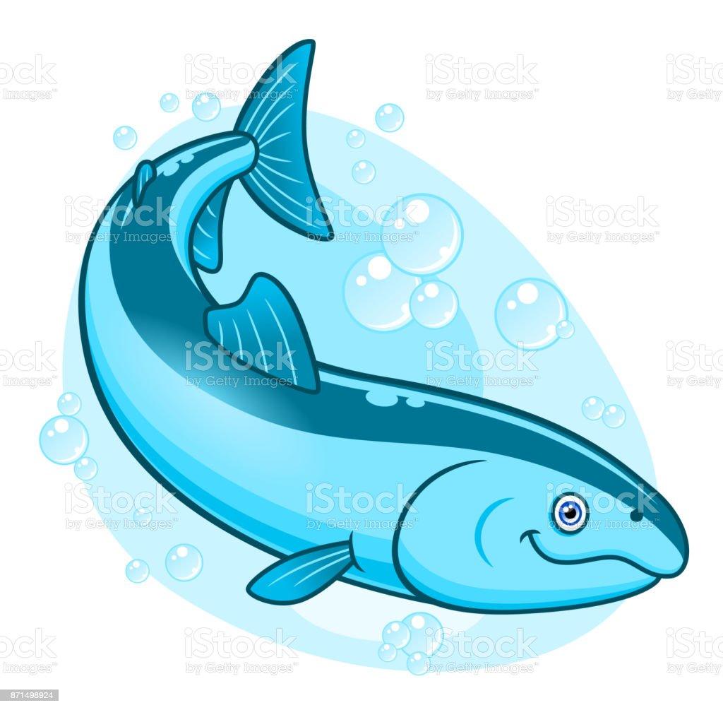 Cartoon cute coho salmon vector art illustration