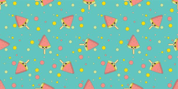 Dibujos animados lindo colorido vector doodles helado patrón sin costuras. Fondo de helado de melón de agua - ilustración de arte vectorial