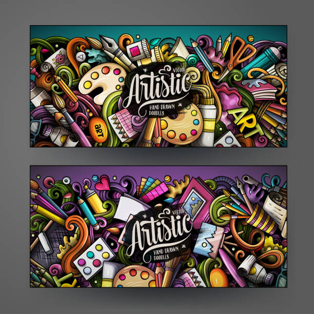 cartoon cute colorful vector hand drawn doodles artist banners design - artsy backgrounds stock illustrations
