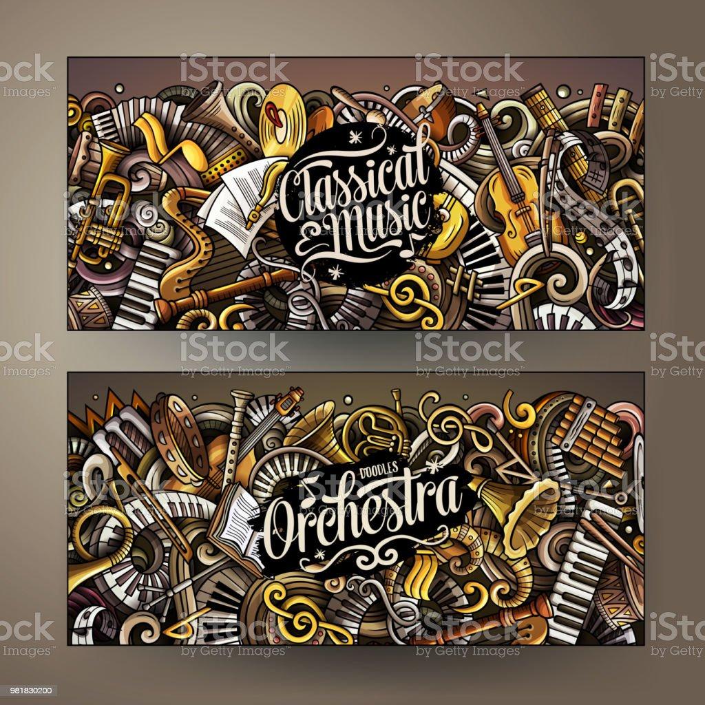 Dibujado a mano dibujos animados lindos vectores coloridos garabatos banners de música clásica - ilustración de arte vectorial