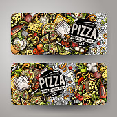 Cartoon cute colorful vector hand drawn doodles Pizzeria corporate identity. 2 horizontal banners design. Templates set. All objects separate