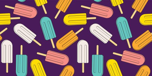 Dibujos animados lindo colorido helado vectorial patrón sin costuras. Ilustración de polo de helado para textiles, papel pintado o fondos. - ilustración de arte vectorial