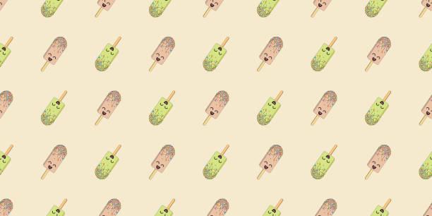 Dibujos animados lindo colorido helado vectorial patrón sin costuras. Ilustración de polo de helado para textiles, papel pintado o telones de fondo. - ilustración de arte vectorial