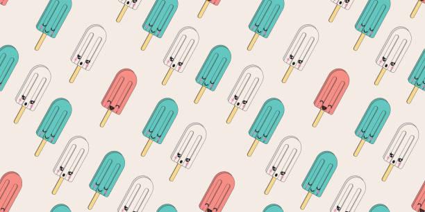 Dibujos animados lindo colorido helado vectorial patrón sin costuras. - ilustración de arte vectorial