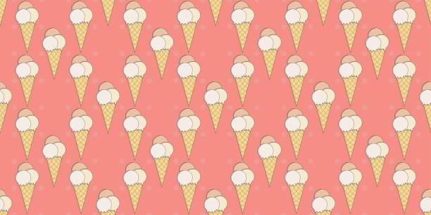 Dibujos animados lindo coral rosa vector helado helado sin costuras patrón por moda o papelería - ilustración de arte vectorial