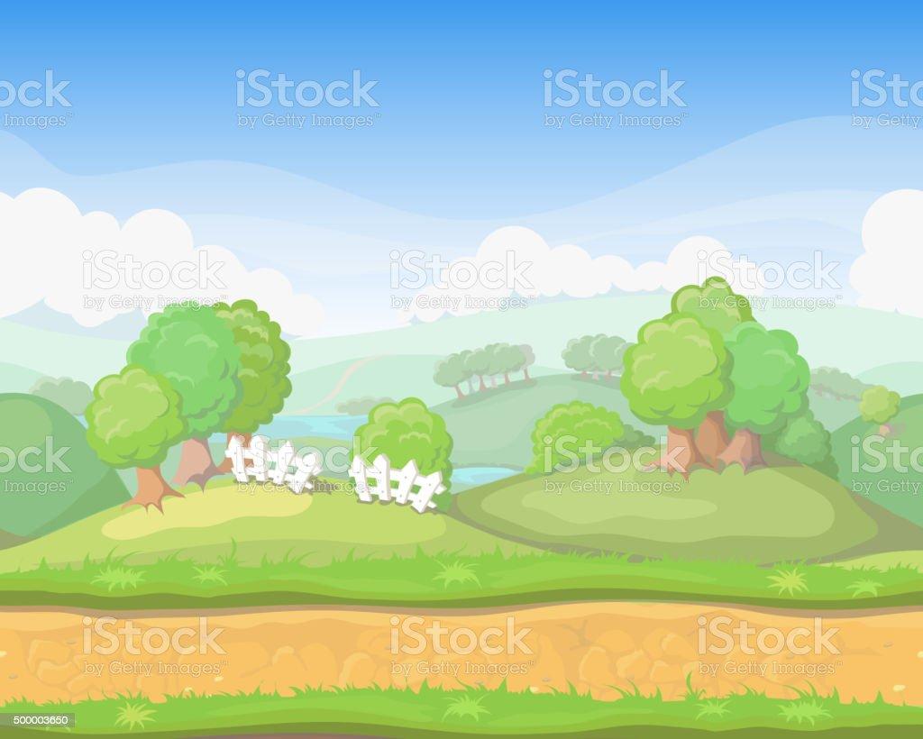 漫画かわいい国シームレスなホライゾンタル風景ゲームの背景 の