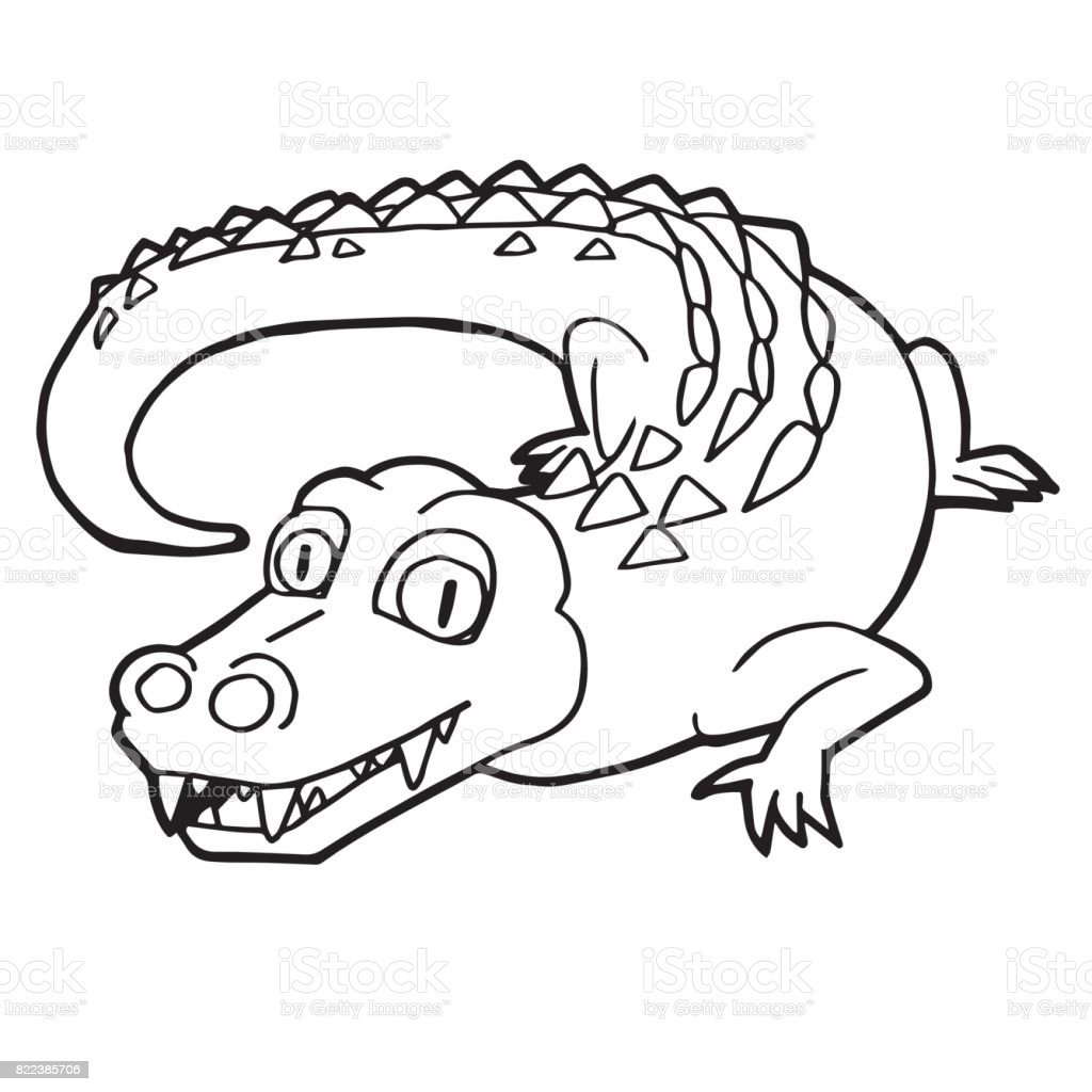 Cartoon Cute Crocodile Coloring Page Vector Illustration ... - photo#13