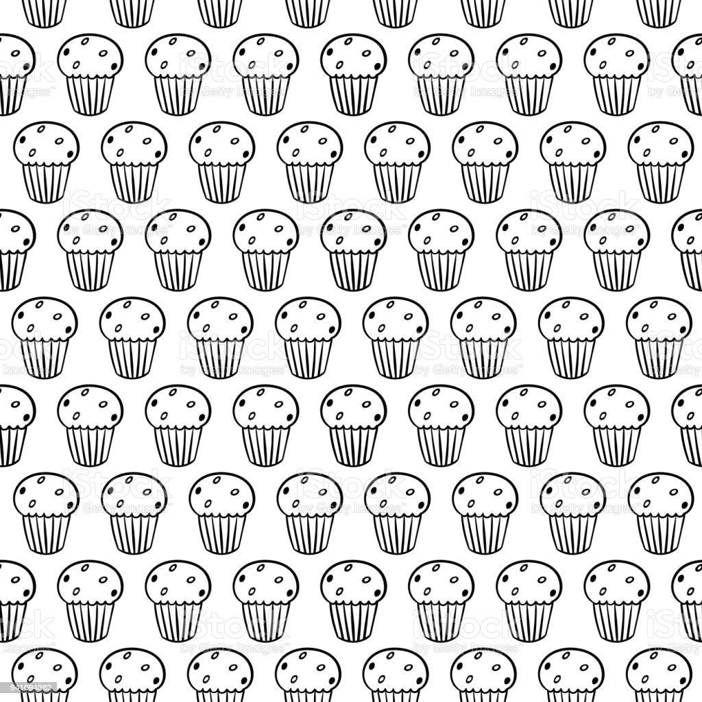 Dessin Anime Mignons Cupcakes Sur Fond Blanc Modele Sans