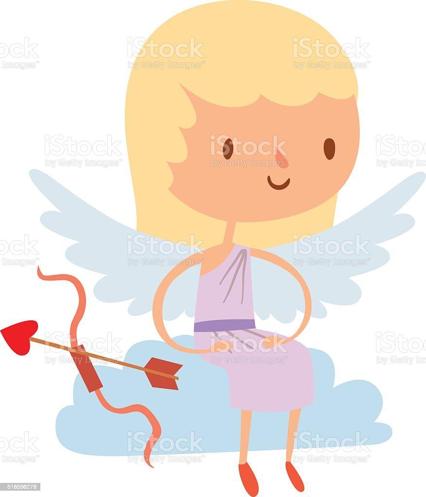 キューピッド漫画かわいい天使の子供の笑顔の女の子のベクトル