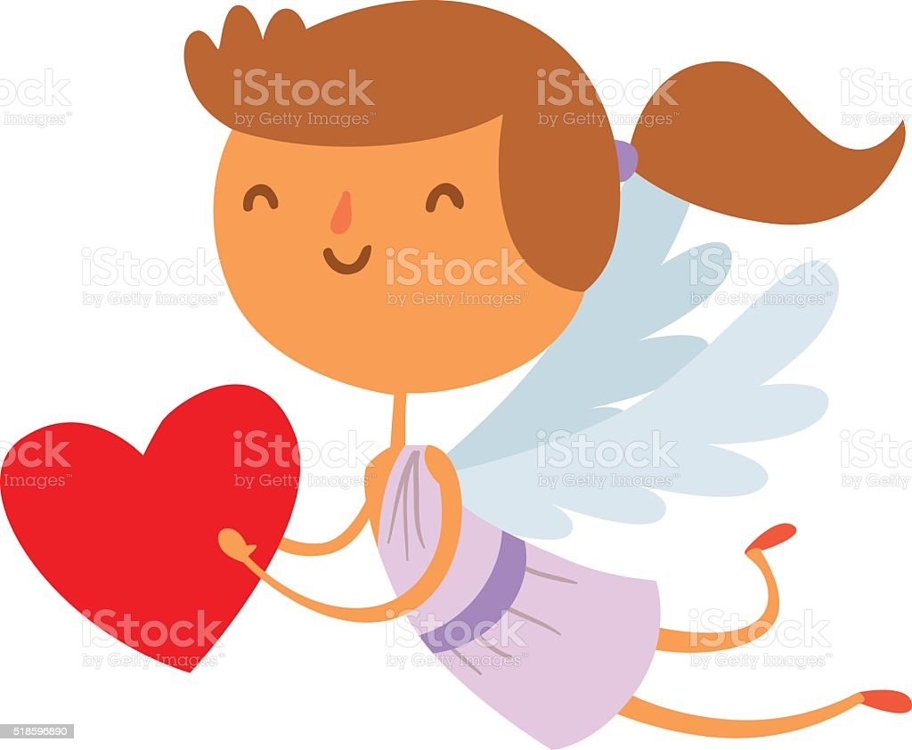 Vetores De Sorriso Bonito Dos Desenhos Animados Cupido Anjo Vetor