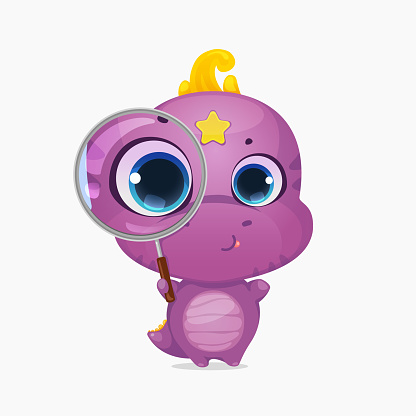 Cartoon cute dinosaur with magnifying glass. Little sweet dino kid character. Creative layout for social media blogging. Vector illustration.