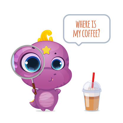 Cartoon cute dinosaur with magnifying glass. Little sweet dino kid character. Where is my coffee? Vector illustration.