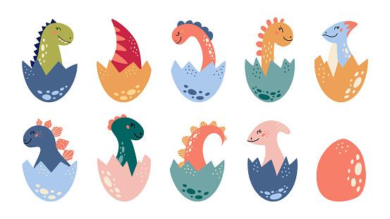 Cartoon cute dinosaurs set Baby Dino tail in egg