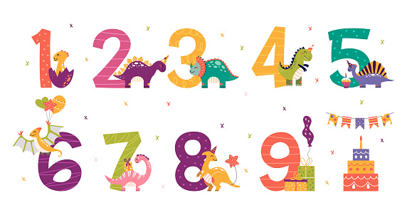 Cartoon cute dinosaurs set for birthday party