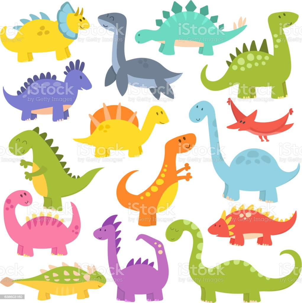 Cartoon cute dinosaurs vector. - ilustração de arte em vetor