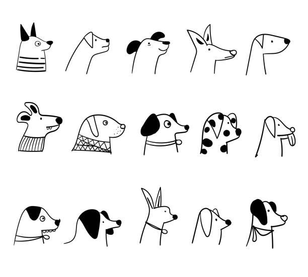 Cartoon cute dog breed face vector art illustration