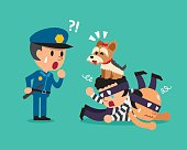 Cartoon cute dog helping policeman to catch thieves