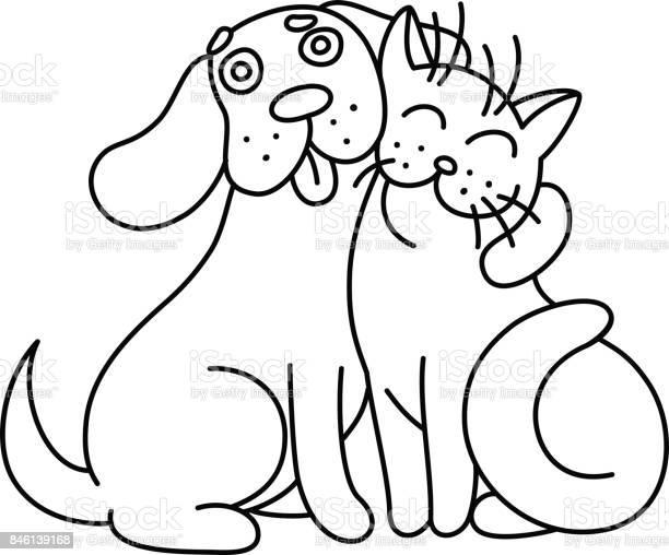 Cartoon cute dog hugs cat vector illustration vector id846139168?b=1&k=6&m=846139168&s=612x612&h=aqcmbaskq2nfpnkig2c68om19vdhlfzmfeyhtt lf0u=