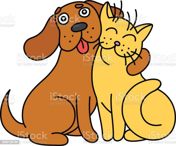 Cartoon cute dog hugs cat vector illustration vector id846139180?b=1&k=6&m=846139180&s=612x612&h=fuu3tzarla4g5ps8pgmyiz07ghkadsrhihaobyls7a8=