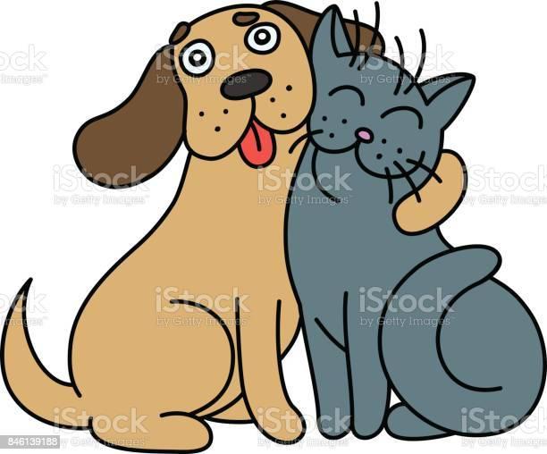 Cartoon cute dog hugs cat vector illustration vector id846139188?b=1&k=6&m=846139188&s=612x612&h=j lbyu72966dxye6wpnpci2 nu qu0p11ujceasv5uu=