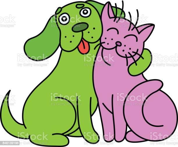 Cartoon cute dog hugs cat vector illustration vector id846139198?b=1&k=6&m=846139198&s=612x612&h=7mwragwkhbjxvhollkggrm09e0i5cmgussgzroedhsc=
