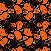 Cartoon cute Doodle hand drawn Halloween seamless pattern. Funny ghosts say Boo. Vector background design for fun Halloween decoration. Naive, childish style of drawing. For packaging, textiles