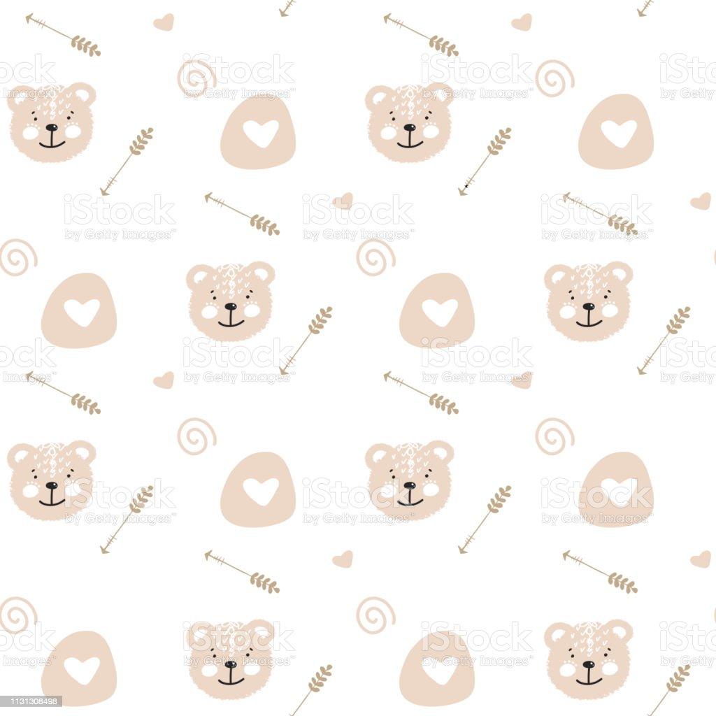 かわいいふわふわクマと漫画かわいい落書きシームレスなパターンの