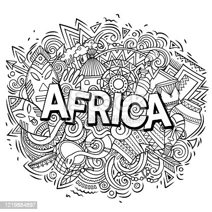 Cartoon cute doodles Africa word. sketchy illustration. Background with lots of separate objects. Funny vector artwork