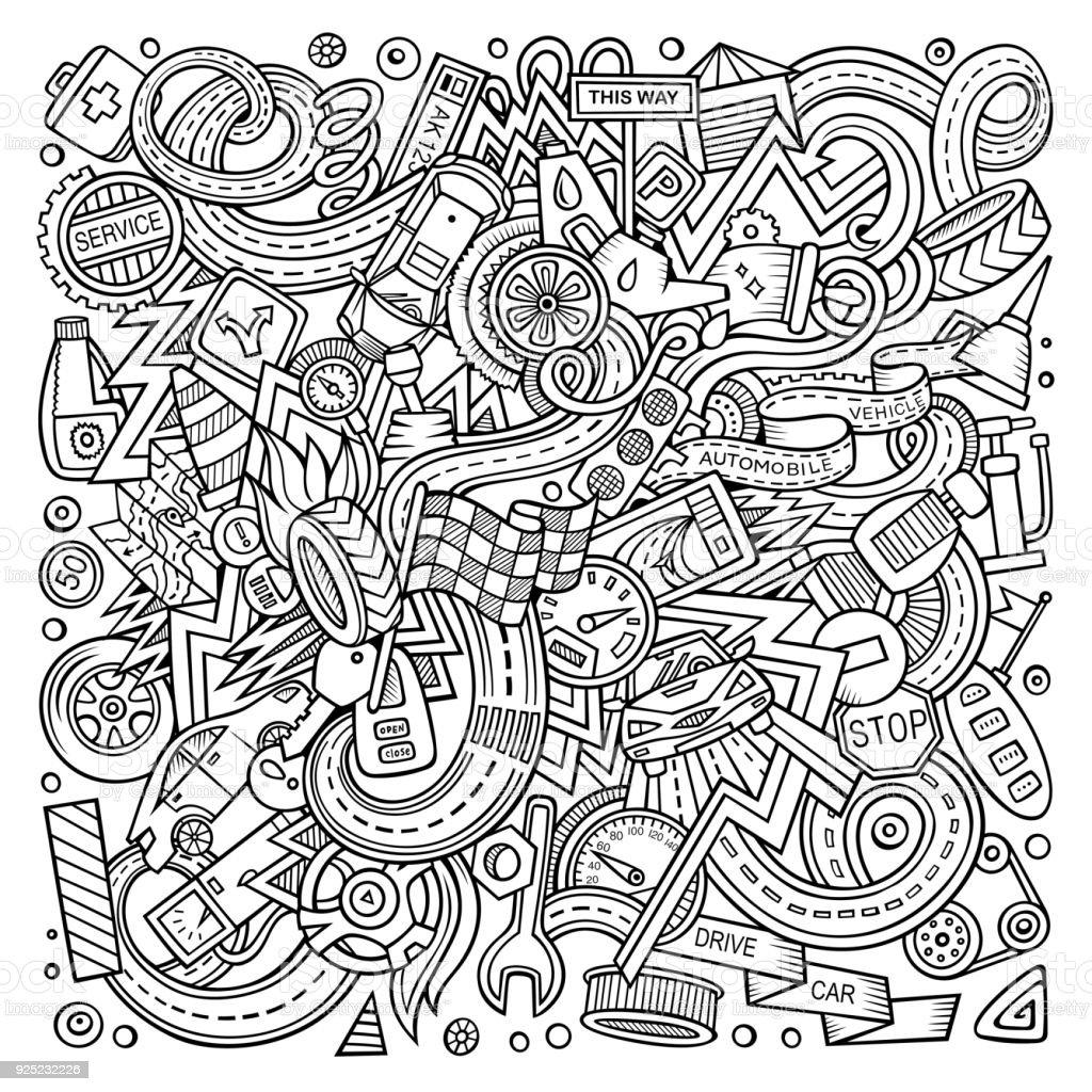 Niedliche Cartoon Kritzeleien Autumotive Abbildung – Vektorgrafik