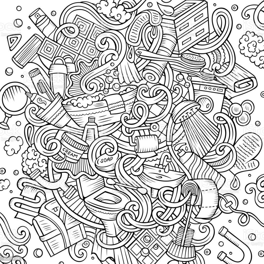 Dessin Salle De Bain dessin animé mignon doodles illustration de salle de bain