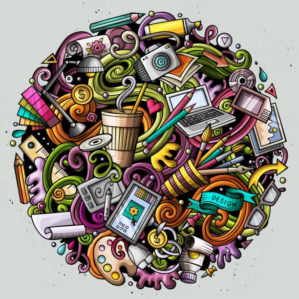 cartoon cute doodles design illustration - hobby stock illustrations