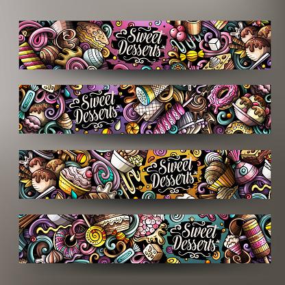 Cartoon cute doodles Desserts horizontal banners set