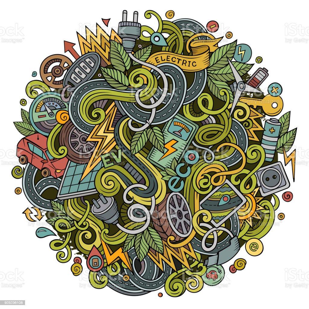 Cartoon cute doodles Electric cars illustration vector art illustration