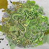 Cartoon cute doodles Electric cars illustration