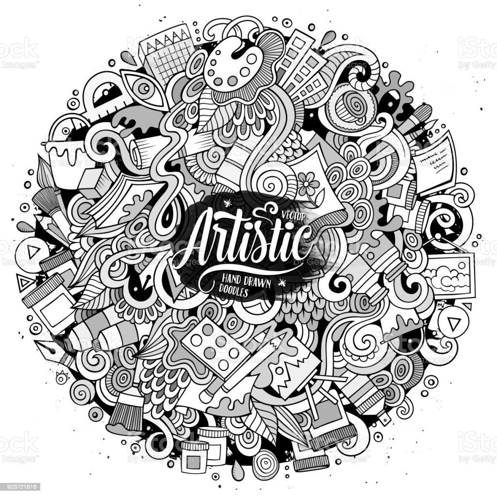 漫画かわいい落書きが描かれた芸術的なイラストを手します いたずら