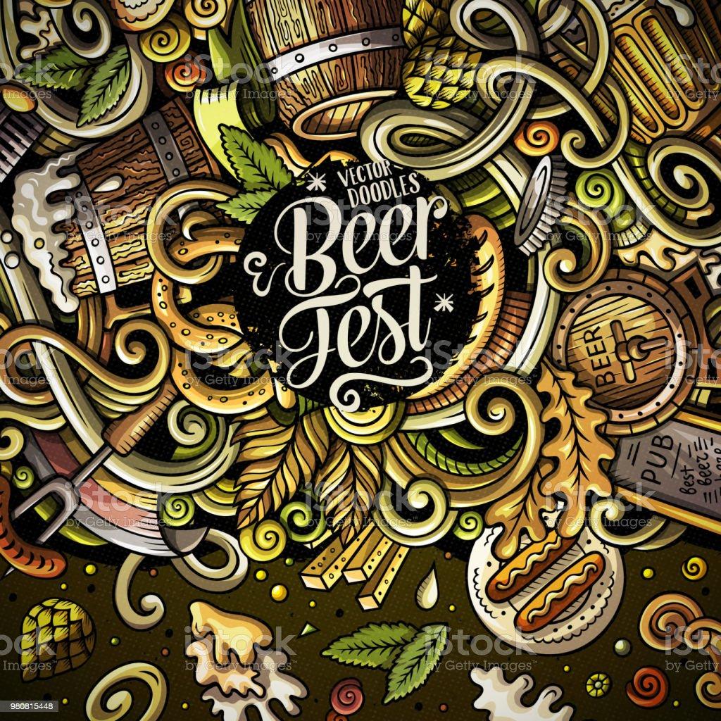 Cartoon cute doodles hand drawn Beer fest frame design vector art illustration