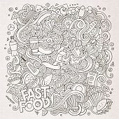 Cartoon cute doodles hand drawn Fastfood illustration. Sketch detailed, with lots of objects background. Funny vector artwork. Line art picture with fast food theme items