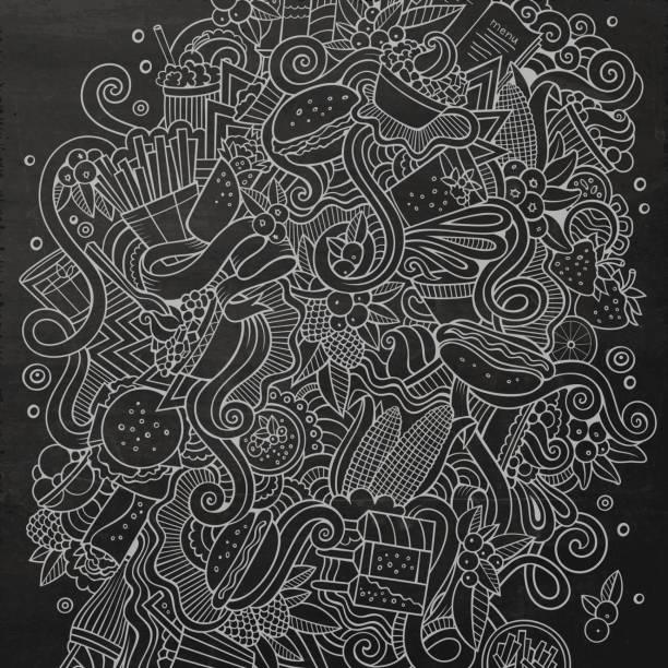Niedliche Cartoon-Kritzeleien hand gezeichnete Fastfood-Abbildung – Vektorgrafik