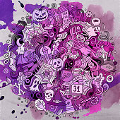 Cartoon cute doodles hand drawn Halloween illustration. Watercolor detailed, with lots of objects background. Funny vector artwork. Paint picture with holiday theme items.