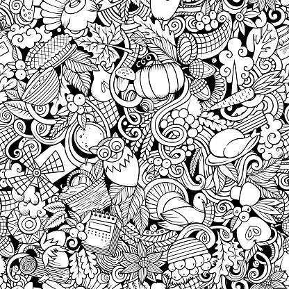 Cartoon cute doodles hand drawn Happy Thanksgiving seamless pattern