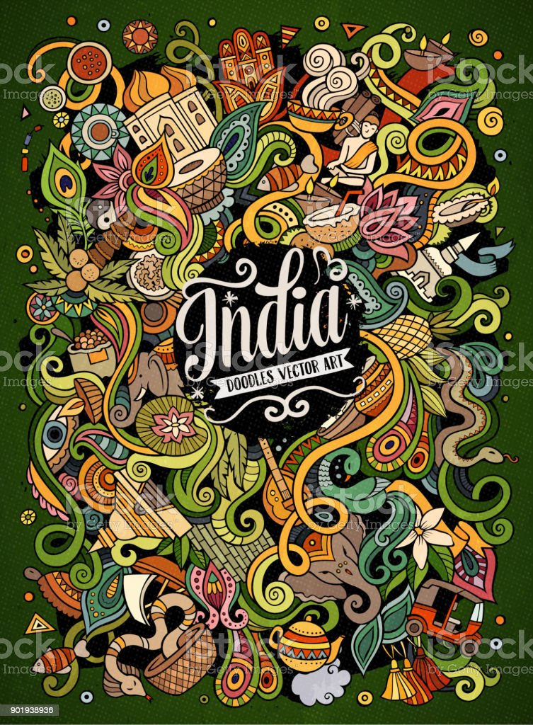 Niedliche Cartoon-Kritzeleien hand gezeichnete Indien Abbildung – Vektorgrafik