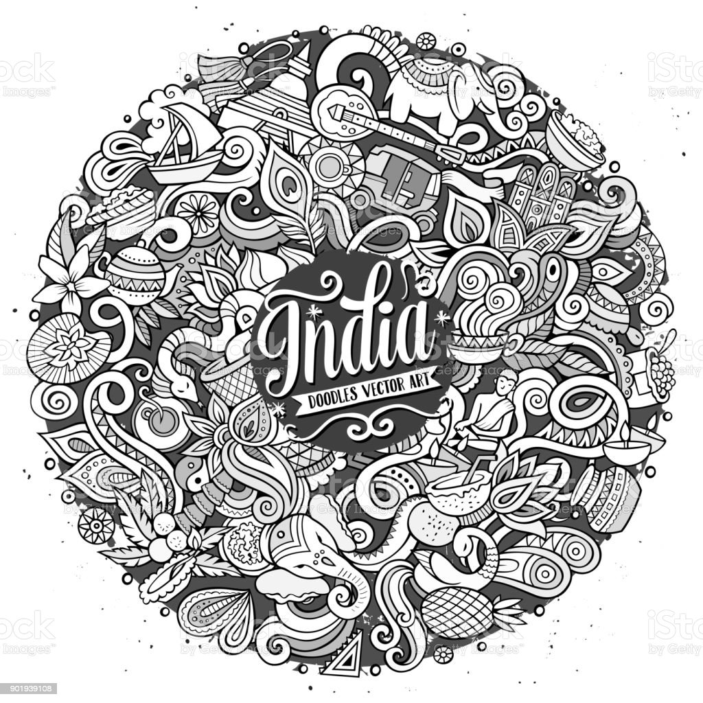 Cartoon cute doodles hand drawn India illustration vector art illustration