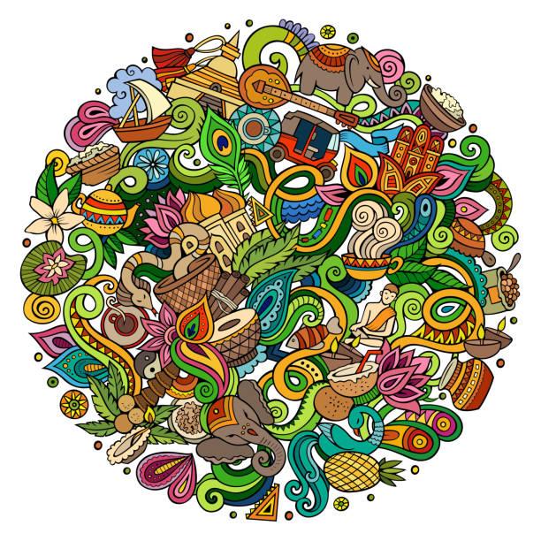 ilustraciones, imágenes clip art, dibujos animados e iconos de stock de doodles lindos dibujos animados ilustración india dibujado a mano - comida india