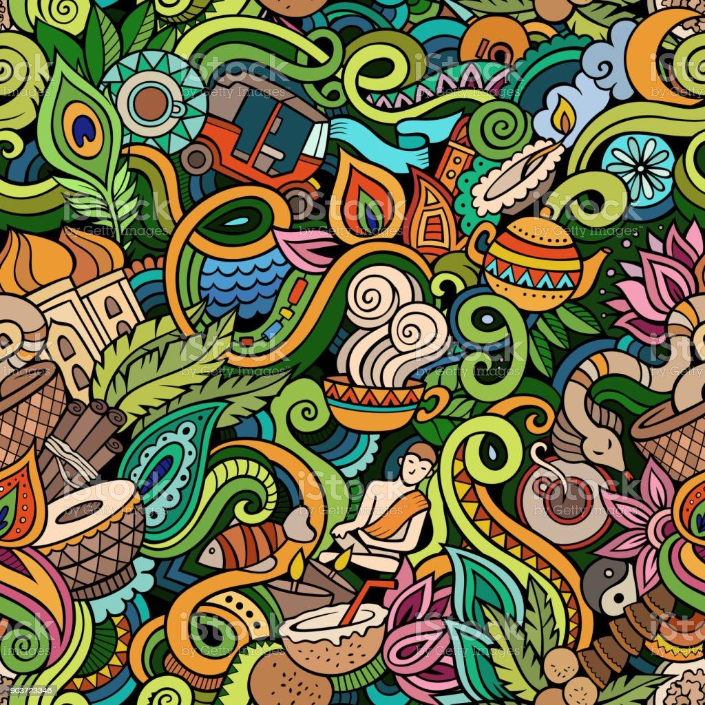 Niedliche Cartoon Kritzeleien Hand gezogenen indischen Kultur nahtlose Muster – Vektorgrafik