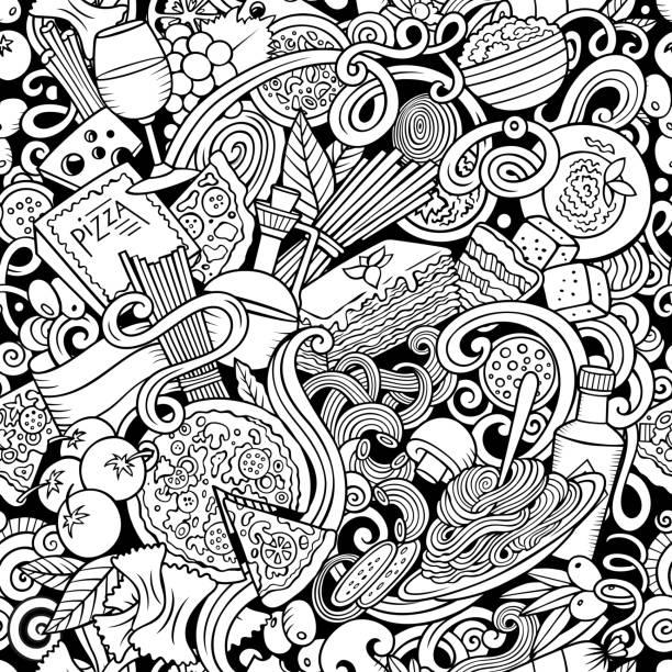Cartoon niedlichen Doodles handgezeichnete italienische Essen nahtlose Muster. S – Vektorgrafik