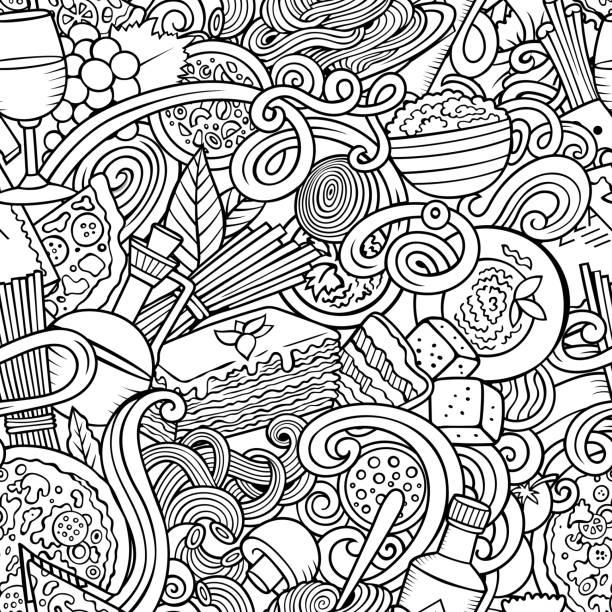 illustrations, cliparts, dessins animés et icônes de dessins animés mignons griffonnages à la main dessiné italien food modèle sans couture. s (en) - risotto